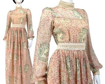 Vintage Clothing, Boho Dress XS S, 70s Maxi Dress, Prairie Dress, Crochet Trim, Bishop Sleeves, High Neck Dress, Cotton Muslin, SIZE XS S