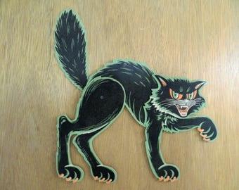 Vintage Die Cut Beistle Co Poseable Black Cat Halloween Decoration