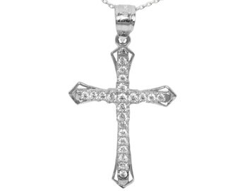 14k White Gold Cubic Zirconia Cross Pendant
