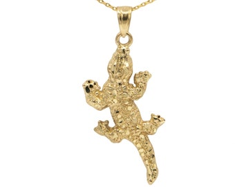 14k Yellow Gold Lizard Necklace