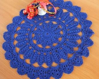 Christmas dark blue crochet doily Christmas decor Table decor Vase placemat Linen crochet doily Dark blue crochet doily Gift ideas