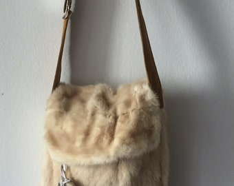 Milky crossbody women's bag, from real mink fur and old leather, decorated with fur bubo, vintage style handbag, stylish handbag,size-medium