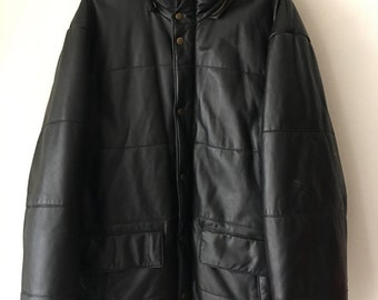 Casual Long Vintage Black Durable Genuine Leather Jacket Men's Size Large.