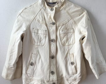 White girl's classic jacket, from real leather, really soft leather, with buttons, jacket for girls, vintage style, size-extra small.