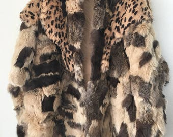 Real fur warm bolero from real rabbit fur soft & furry fur, winter amazing vintage handmade fur pieces unique women's brown size-universal.