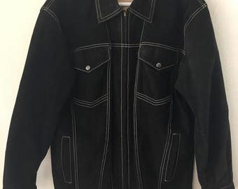 Original Steep Short Vintage Black Genuine Suede Jacket Men's Size Medium.