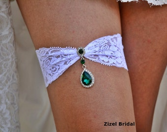Emerald Garter, White Garter Set, White Lace Garter, Rhinestone garter, Vintage Garter Set, Green Garter Set, Garter Set White, Bridal Gift