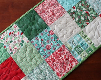 Christmas Table Runner, Evergreen Table Runner, Quilted Christmas Table Runner, Handmade Table Runner, Red Green White Blue, Snowflake, Moda