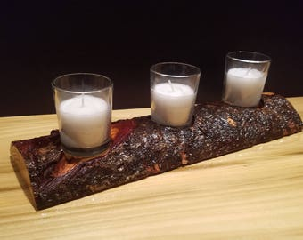 Decorative Log Candle Holder