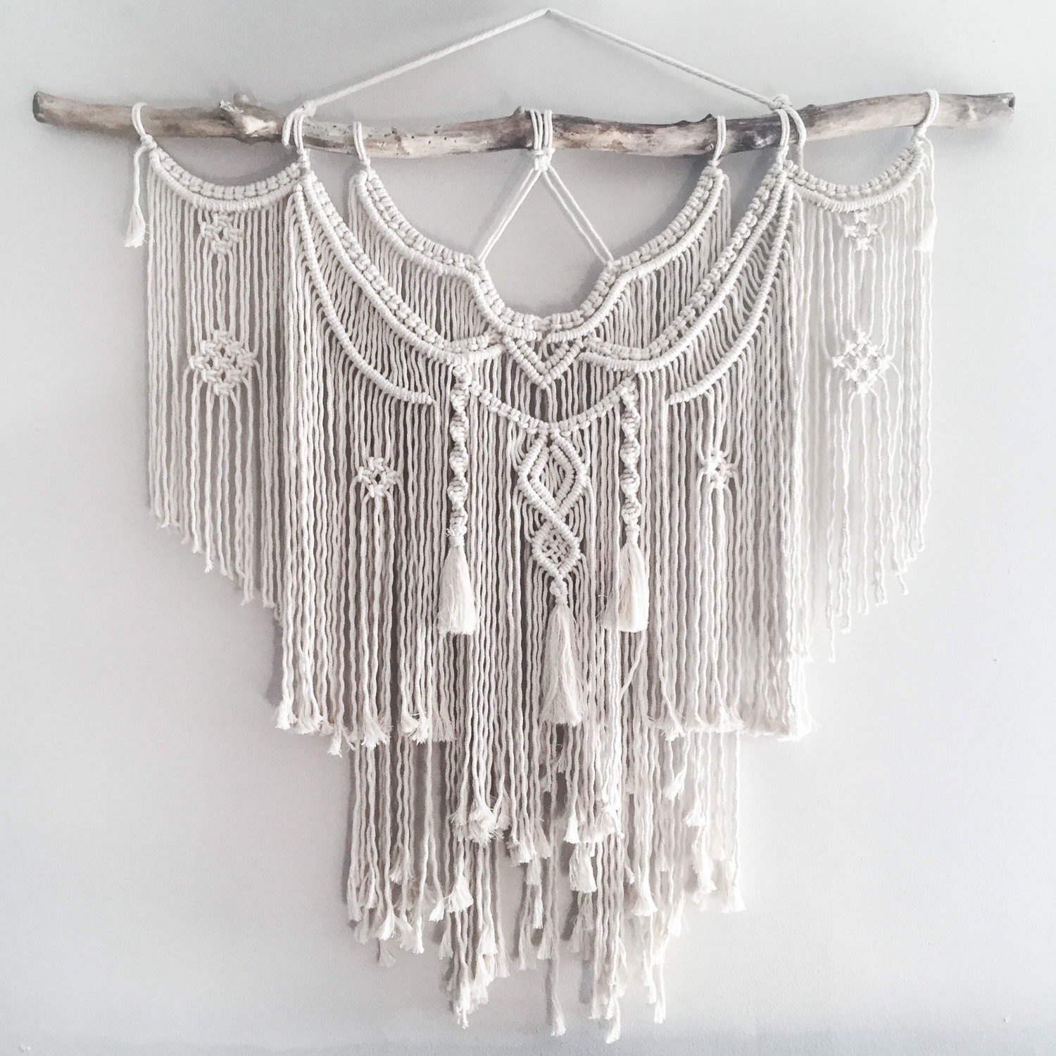 Large 44 macrame wall hanging tapestry macrame for Wall hangings