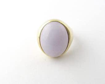 Vintage 14 Karat Yellow Gold Jadeite Ring Size 10.25 #1441