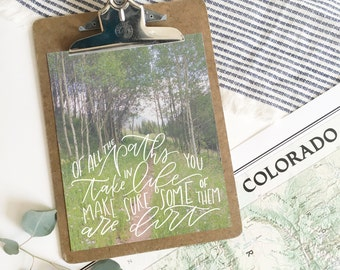 Hand-lettered print . 8x10 . hiking art . outdoors print . photo print . nature print . aspens .  adventure decor