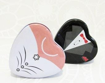 Bride groom Mint tin metal wedding favor gift box
