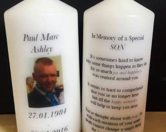 Personalised Remembrance Your Photo In Memory Candle Gift Keepsake Large Wedding, Funeral Birthday Absence