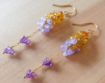 Purple Amethyst Earrings Yellow Citrine Earrings Dangle Earrings Long Earring Gold Filled Wire Wrapped Colorful Gemstone Earrings