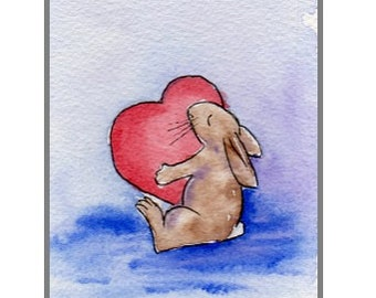 Hand-Painted Card Love-Bunny (Original-not a print!)