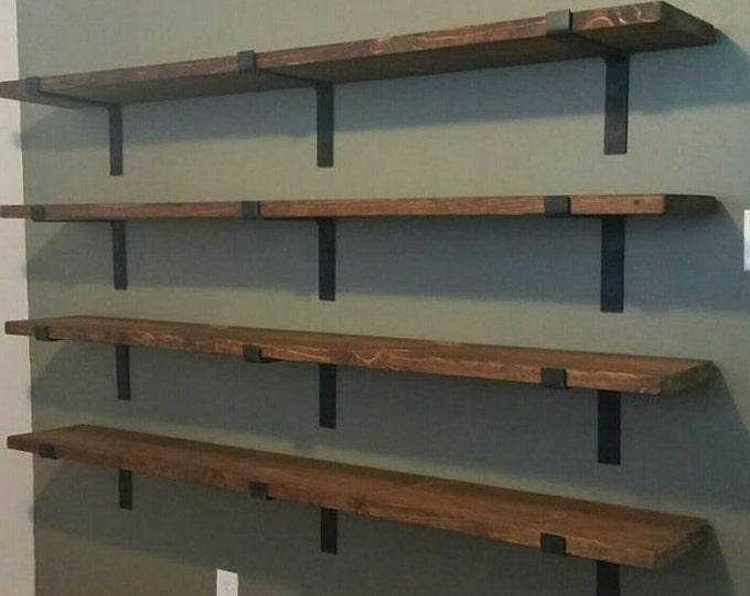 "Metal Shelf Brackets, Handmade, 2"" wide, Heavy Duty, Modern Industrial Design, Farmhouse Decor"