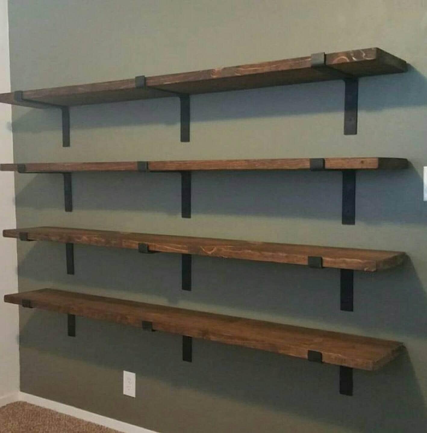 Kitchen Shelf Brackets Wood: Metal Shelf Brackets Handmade 2 Wide Heavy Duty