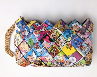 Recycled comic book wristlet/mini purse, The Jetsons wristlet, Hanna-Barbera comic, Eco Friendly wristlet,candy wrapper purse.