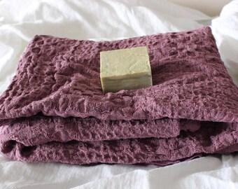 "Organic Linen  bath towel set .Textured burlap Linen bath/sauna towel /face towel/skin massager/47""x 29""  119x73cm/25""x16"" 63x40cm"