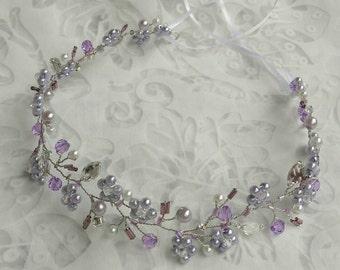 Bridal hair vine, bridal wreath, bridal halo, hair accessoire, lavender