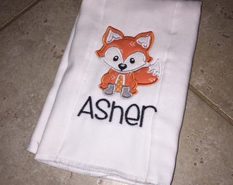 Fox Applique Burp Cloth