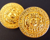 """PIERRE BALMAIN Buttons, French Haute Couture Very Chic Jewelry, Gold, Crown, Coats of Arms, XL Size 1,25"""" 3,2 cm, Price for 1, Only 1 left !"""