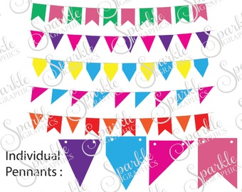 Bunting Cut File Pendant Banner  Bunting Banner Clipart Svg Dxf Eps Png Silhouette Cricut Cut File Commercial Use
