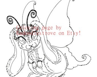 Floof Fairy Coloring Page: Bunnerfly