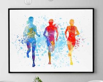 Half Marathon Gift, Runners Print, Sports Print, Watercolor Wall Art, Home Decor, Jogging Girls (N052)