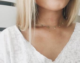 Dangle Coin Necklace || Coin Choker || Gold Coin Choker || Dangled Circle Choker || Gold Chain Choker || Gold Choker