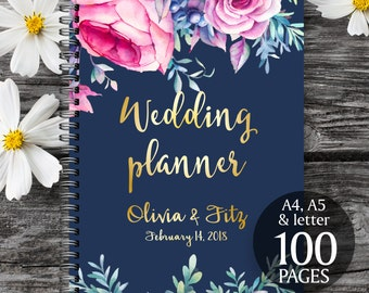 Wedding binder, Wedding book, Pink navy wedding planner,  Printable wedding organizer, Printable wedding planner,  To do wedding list