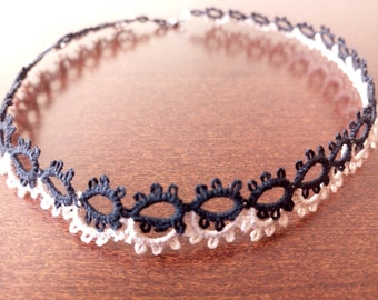 Black and Beige Tatted Choker, Romantic Tatted Choker, Romantic Tatted Necklace