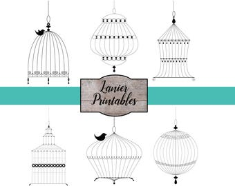 Bird Cage Clipart, Vintage Bird Cage, Bird Cage Wedding, Commercial Clipart, Bird Clipart, Victorian Bird Cages, Whimsical Bird Cage