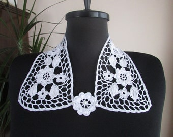Handmade Women's Crochet Collar, White Cotton Collar, Floral Lace Collar, Crochet Fashion, Neck Accessory, Vintage Look, Shabby Chic