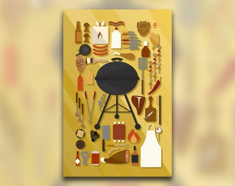 Grilling Collection - Barbecue Art Print - Grilling Meats - BBQ Decor - Kitchen Art - Knolling Print - Graphic Design Poster