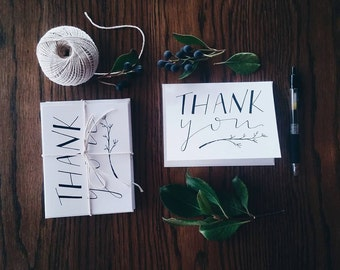 Hand Drawn Thank You Cards -Pack of Five