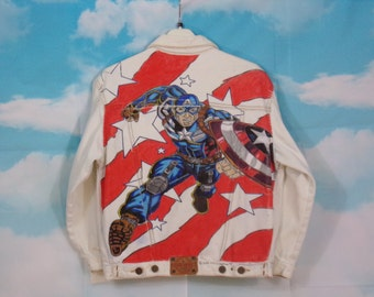 Jacket jeans Kid K4U-Creations Motif Captain América hand-painted Size 12 years