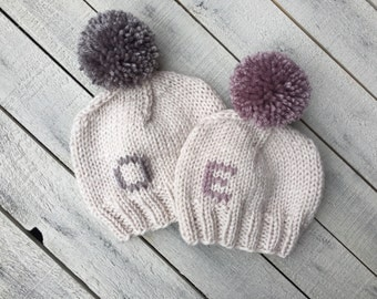 Monogram Baby Beanie, Personalized Knit Infant Hat, Linen Initial Hat, Newborn Announcement Photo Prop, Coming Home Outfit, Baby Shower Gift
