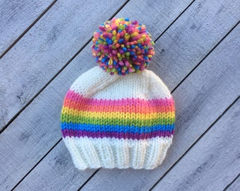 Bright Rainbow Baby Hat Knit Infant Hat Newborn Girl Photography Prop Hat Cream Rainbow Striped Beanie Shower Gift Girl Going Home Outfit