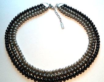 3 Strand Napier 3 Shades of Gray Glass Bead Necklace