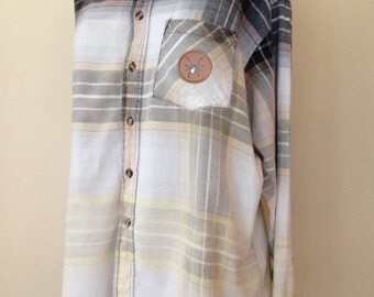 Upcycled, Ombre Bleached, Oversized Boyfriend's Flannel Shirt with Hanger Patch