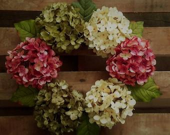 Spring Wreath, Everyday Wreaths, Wreath for Front Door, Wreath, Hydrangea Wreath