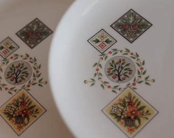 """Set of 7 Taylor Smith & Taylor 6.5"""" Bread or Dessert Plates - Brocatelle Pattern"""