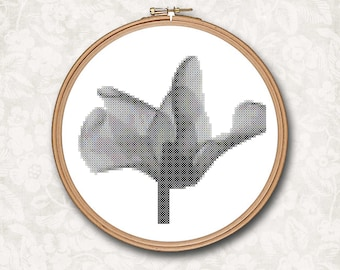 Whimsical Modern Black and White Poppy Flower Counted Cross Stitch Pattern - PDF Digital Download