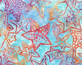 Robert Kaufman - Totally Tropical 4 - Rainbow - Star Fish -  Batik AMD-15502-263 - Multi Colored -  Fabric by Yard