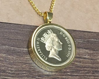 1999 18th birthday One pound coin pendant - gold plated