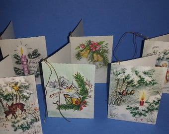 Vintage Christmas Cards, Vintage Christmas Western Germany,   1950's Unused Cards, Gift Tags, Glitter, A Gibson Import,