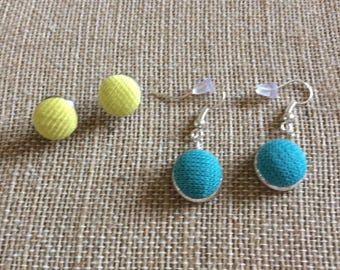 CalliopesCollections fabric post and dangle button earrings