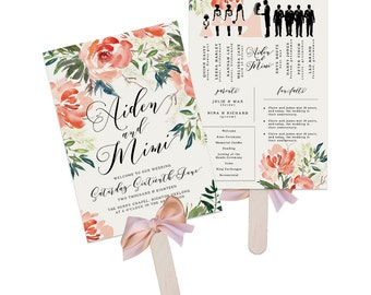 Wedding Program Fan - Estella - Printable Wedding Fan, Wedding Paddle, Printable Program, Wedding Program, Order of Events